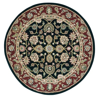 Ellerswick Hand Woven Wool Red/Black Indoor Area Rug Rug Size: Round 6