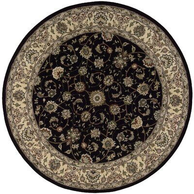 Ellerswick Hand Woven Wool Beige/Black Indoor Area Rug Rug Size: Round 4