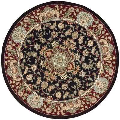 Bryony Hand Woven Wool Black/Brown Indoor Area Rug Rug Size: Round 4
