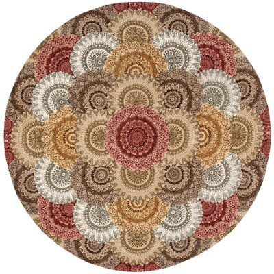 Dunbury Hand Woven Wool Beige/Gray Indoor Area Rug Rug Size: Round 6