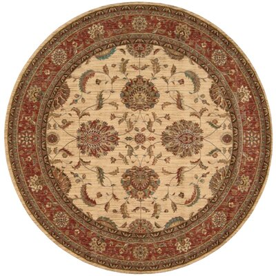 Living Treasures Ivory/Red Area Rug Rug Size: Round 510