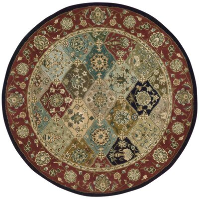 Dunbury Hand Woven Wool Beige/Red Indoor Area Rug Rug Size: Round 4