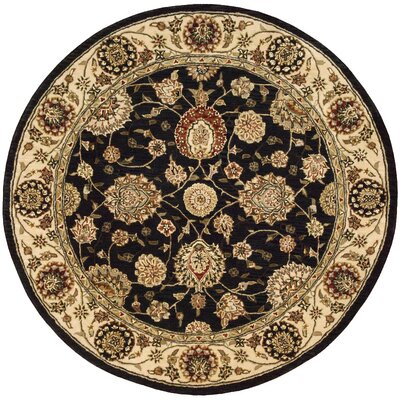 Ellerswick Hand Woven Wool Midnight Indoor Area Rug Rug Size: Round 4