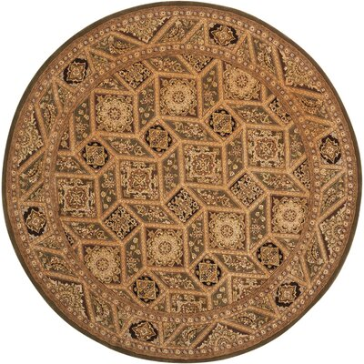 Nourison 2000 Hand Woven Wool Tan Indoor Area Rug Rug Size: Round 6