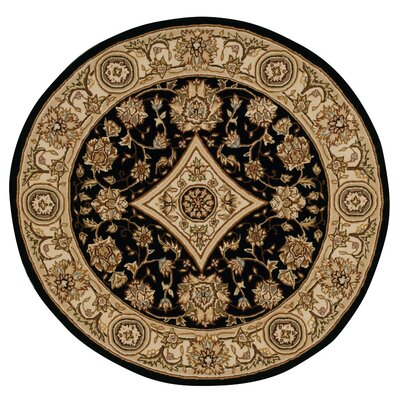 Nourison 2000 Hand Woven Wool Tan/Black Indoor Area Rug Rug Size: Round 6