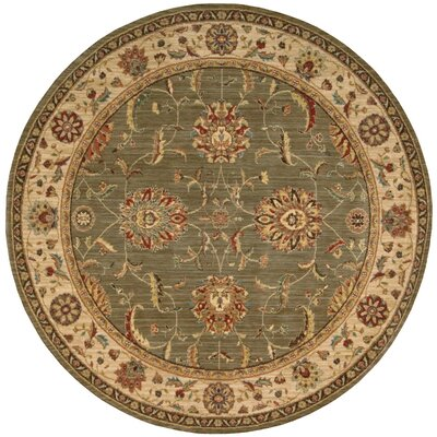 Living Treasures Green Area Rug Rug Size: Round 710