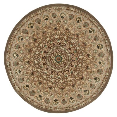 Dunbury Hand Woven Wool Brown/Cream Indoor Area Rug Rug Size: Round 4