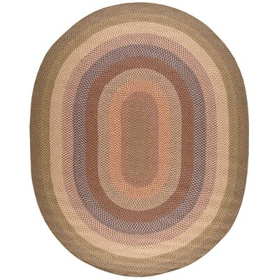 Craftwork Hand-Woven Beige/Brown Area Rug Rug Size: Oval 76 x 96