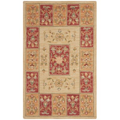 Branwen Hand Hooked Beige Rug Rug Size: Rectangle 53 x 83