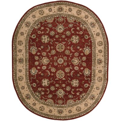 Ellerswick Hand Woven Wool Beige/Red Indoor Area Rug Rug Size: Oval 76 x 96
