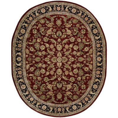 Ellerswick Hand Woven Wool Red/Green Indoor Area Rug Rug Size: Oval 76 x 96