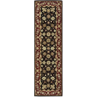 Ellerswick Hand Woven Wool Red/Black Indoor Area Rug Rug Size: Runner 23 x 8