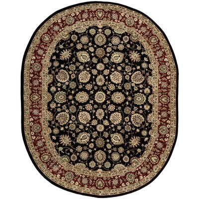 Ellerswick Hand Woven Wool Red/Black Indoor Area Rug Rug Size: Oval 76 x 96