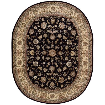 2000 Hand Woven Wool Beige/Black Indoor Area Rug Rug Size: Oval 76 x 96