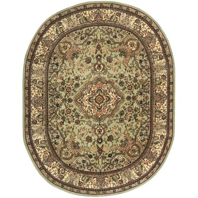 2000 Hand Woven Wool Cream/Pale Leaf Green Indoor Area Rug Rug Size: Oval 76 x 96