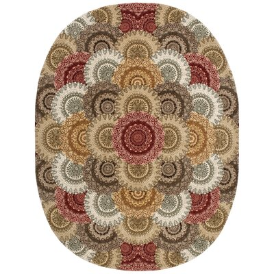 2000 Hand Woven Wool Beige/Gray Indoor Area Rug Rug Size: Oval 76 x 96