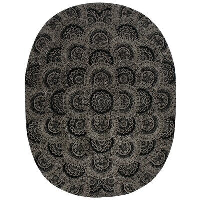 Dunbury Hand Woven Wool Black/Gray Indoor Area Rug Rug Size: Oval 76 x 96