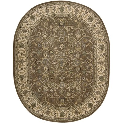2000 Hand Woven Wool Green Indoor Area Rug Rug Size: Oval 76 x 96