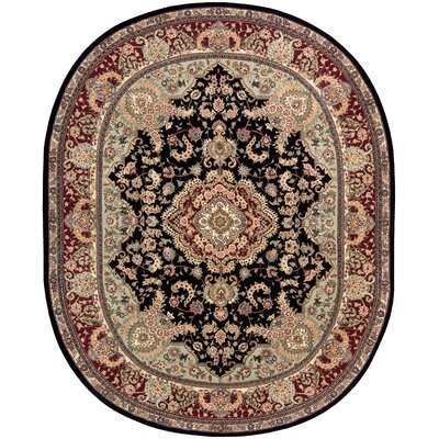 2000 Hand Woven Wool Black/Brown Indoor Area Rug Rug Size: Oval 76 x 96