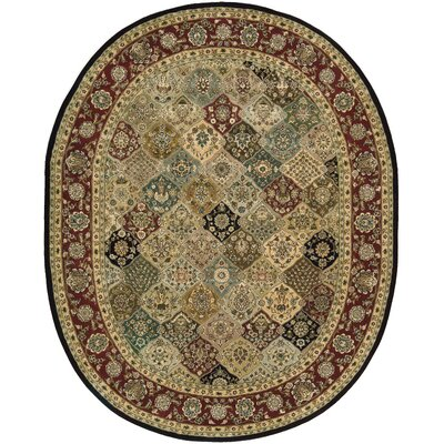 2000 Hand Woven Wool Beige/Red Indoor Area Rug Rug Size: Oval 76 x 96