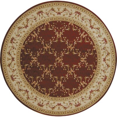 Ashton House Burgundy Area Rug Rug Size: Round 56
