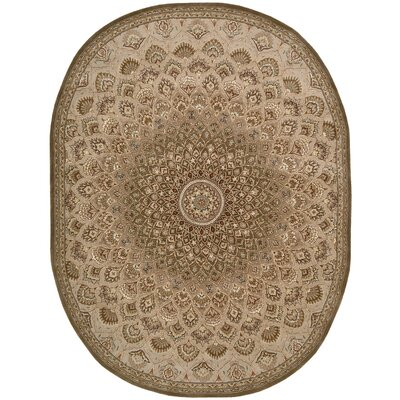 2000 Hand Woven Wool Brown/Cream Indoor Area Rug Rug Size: Oval 76 x 96