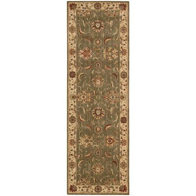 Living Treasures Green Area Rug Rug Size: Runner 26 x 8