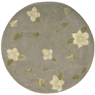 Julian Hand-Tufted Gray Area Rug Rug Size: Round 6
