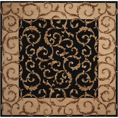 Versaille Palace Hand-Tufted Black Area Rug Rug Size: Square 8