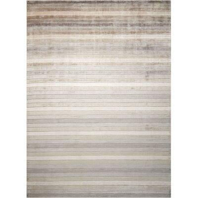 Lisetta Hand-Woven Silver Area Rug Rug Size: 56 x 75