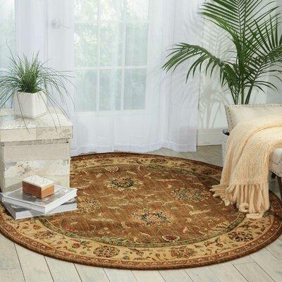 Living Treasures Khaki Area Rug Rug Size: Round 510