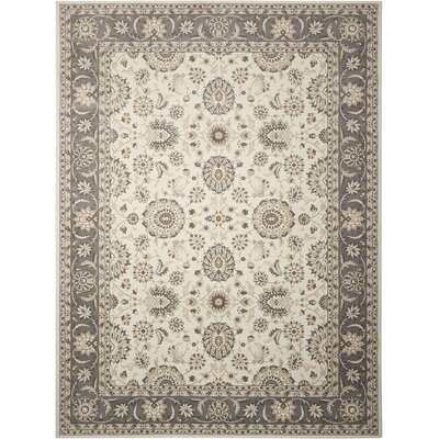 Persian Crown Ivory/Gray Area Rug Rug Size: 53 x 74