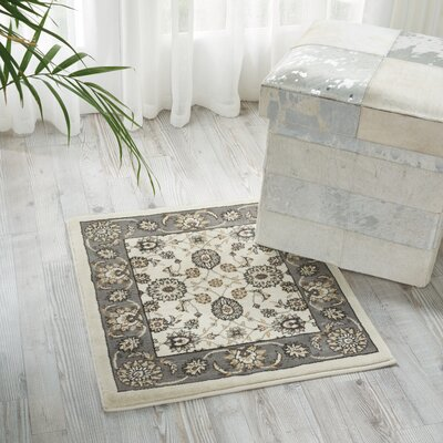 Persian Crown Ivory/Gray Area Rug Rug Size: 111 x 211