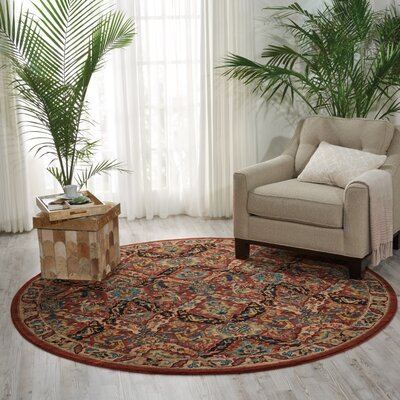 Red Area Rug Rug Size: Round 75