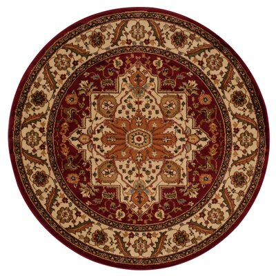 Lukeson Red/Brown Area Rug Rug Size: Round 53 x 53