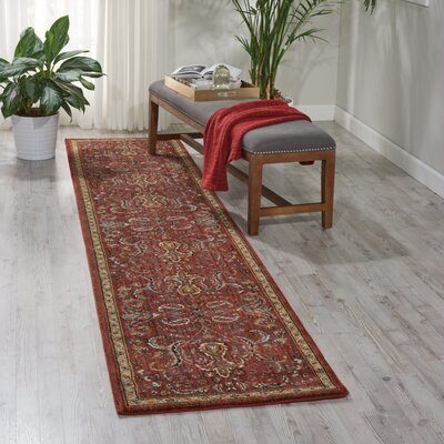 Mainville Red Area Rug Rug Size: Runner 23 x 11