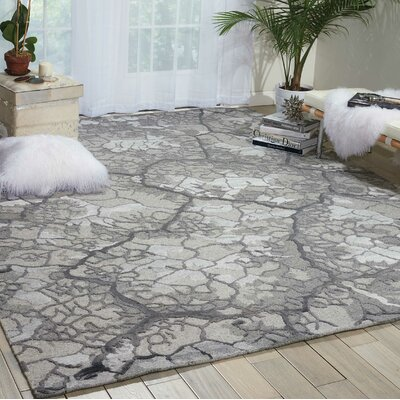 Divine Hand-Knotted Gray Area Rug Rug Size: 99 x 139