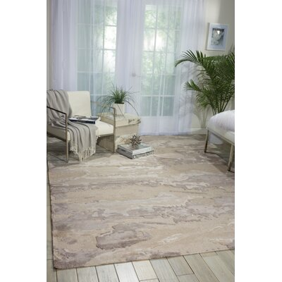 Divine Hand-Knotted Beige Area Rug Rug Size: 79 x 99