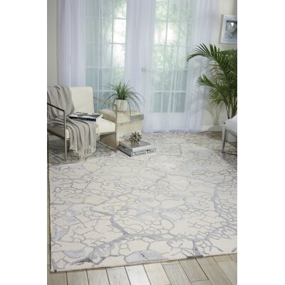 Limerick Hand-Knotted Beige Abstract Area Rug Rug Size: Rectangle 56 x 75