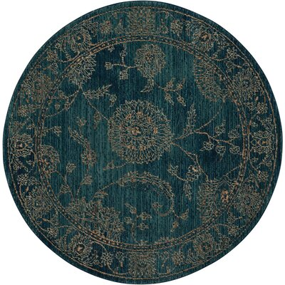 Mailus Blue Area Rug Rug Size: Round 5
