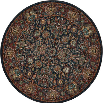 Amias Navy Area Rug Rug Size: Round 5