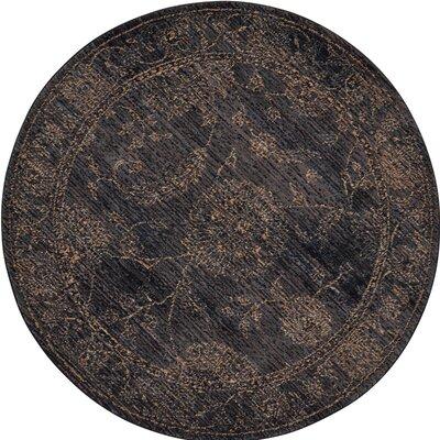 Mahaffey Black Area Rug Rug Size: Round 5