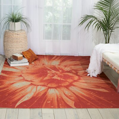 Coastal Red Indoor/Outdoor Area Rug Rug Size: 53 x 75