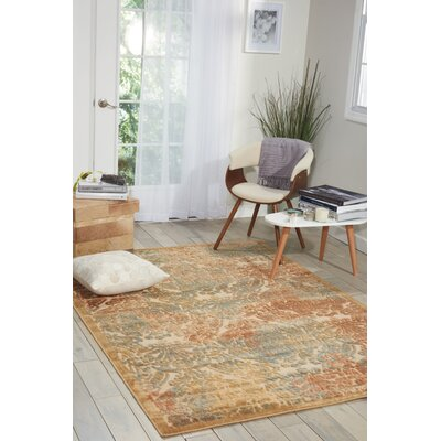 Illusions Light Gold Area Rug Rug Size: 53 x 75