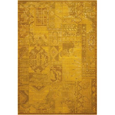 Silk Infusion Yellow Area Rug Rug Size: 86 x 116