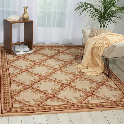 Fairchild Beige Floral and Plants Area Rug Rug Size: 75 x 75