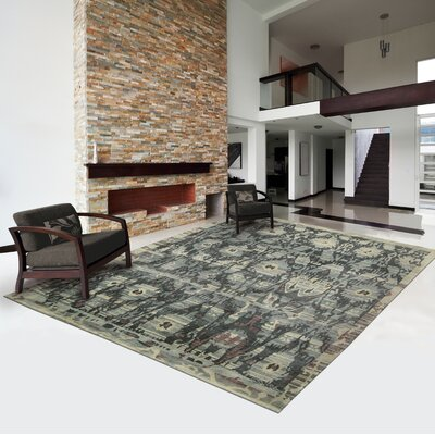 Mercado Hand-Knotted Mineral Area Rug Rug Size: 99 x 139