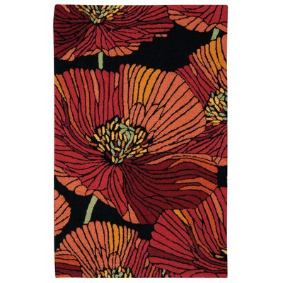 Atalanta Hand-Hooked Black/Red Area Rug Rug Size: Rectangle 26 x 4