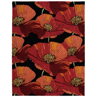 Atalanta Hand-Hooked Black/Red Area Rug Rug Size: Rectangle 8 x 106