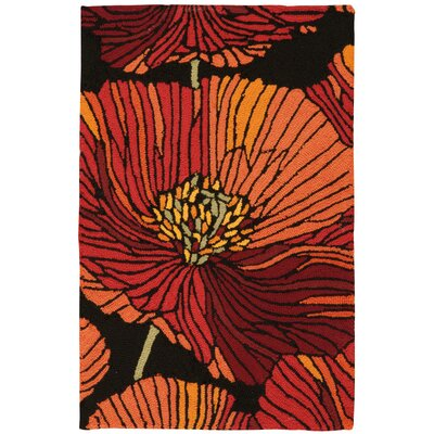 Atalanta Hand-Hooked Black/Red Area Rug Rug Size: Rectangle 19 x 29